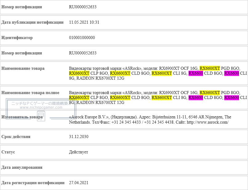EEC - ASRock Radeon RX 6600 XT / RX 6600