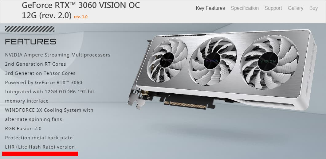 GeForce RTX 3060 VISION OC 12G (rev. 2.0)