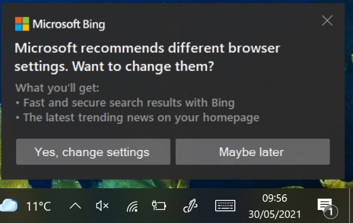 Bingの使用を促すトースト通知