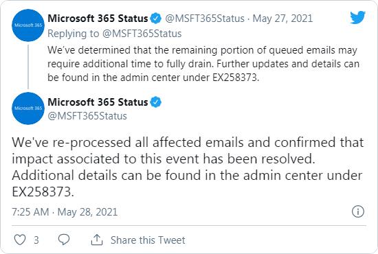 Microsoftのツイート - 5/28AM7:25に不具合は解消したと述べている