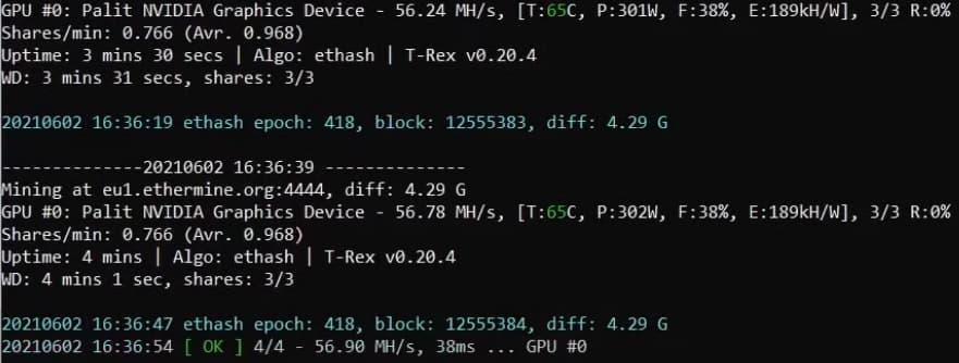 GeForce RTX 3080 TiでのETHマイニング - ハッシュレートは約56MH/s