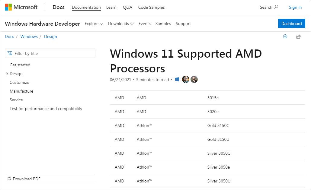 Windows11対応AMD CPUリストの一部