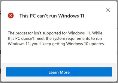 CPU(プロセッサー)が対応していないとのメッセージ