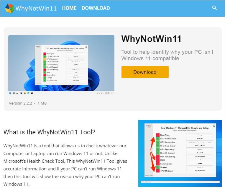 『WhyNotWin11』の偽公式サイト。そこそこ良くできている