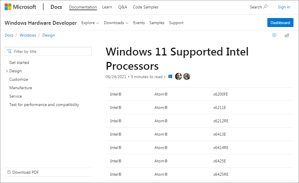 Windows11対応Intel CPUリストの一部