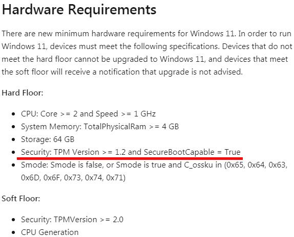 別のページに書かれているWindows11のシステム要件