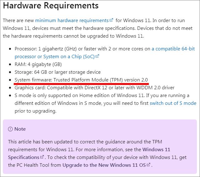 TPM 2.0が必須と修正された