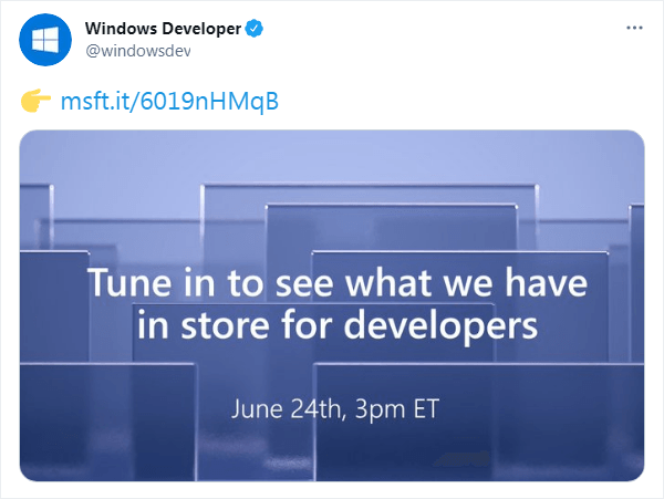 Windows Developer公式アカウントのツイート - 開発者向けイベントをアナウンス