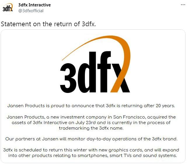 3dfx Interactiveと称するアカウントのツイート
