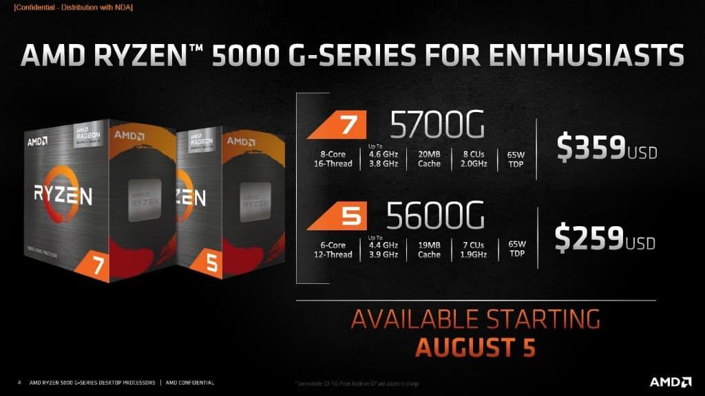 AMD Ryzen 7 5700G / Ryzen 5 5600G