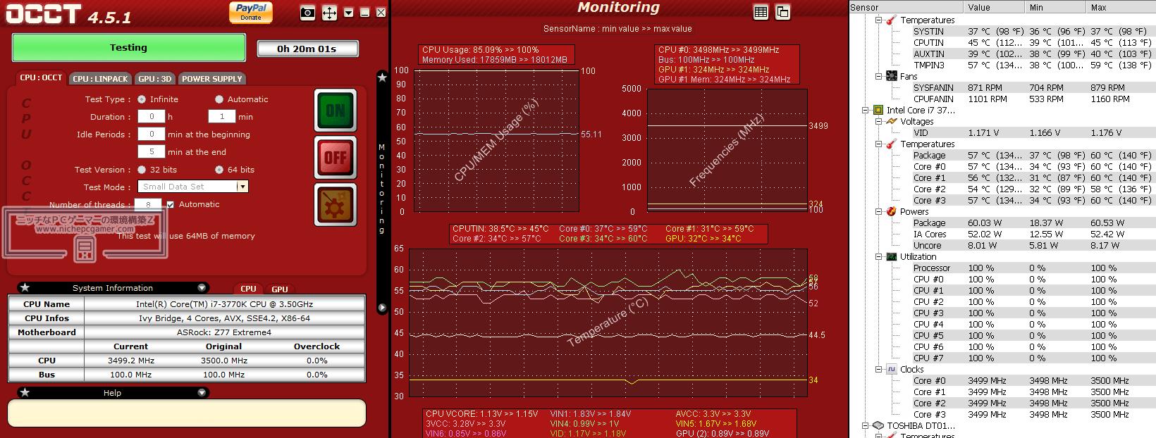 COOT Core i7-3770K@3.5GHz - 最高60度
