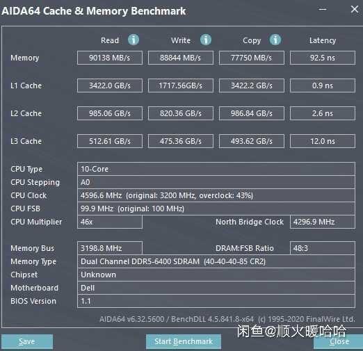 DDR5-6400 CL40-40-40-85 AIDA64リザルト: リード90138MB/s、ライト88844MB/s、レイテンシ92.5ns