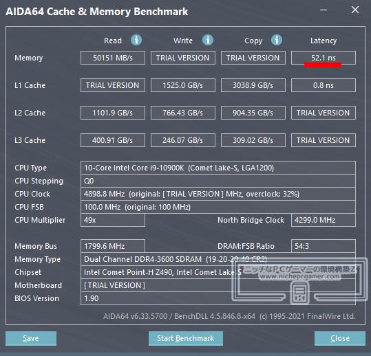 Core i9-10900K環境でのDDR4-3600 CL19-20-20-40のレイテンシは52.1ns