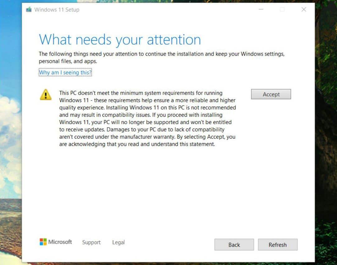非サポート環境にWindows11をインストールしようとするとこのようなメッセージが表示される