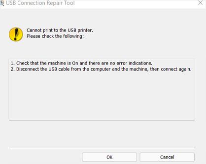 「印刷できません」(Cannot print to the USB printer.)
