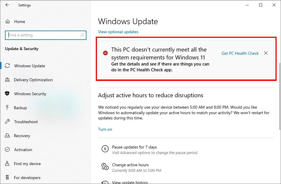 Windows11の要求スペックを満たしていても「満たしていない」と表示される
